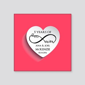 "Personalized Anniversary Pi Square Sticker 3"" x 3"""