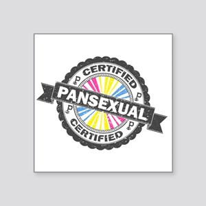 "Certified Pansexual Stamp Square Sticker 3"" x 3"""