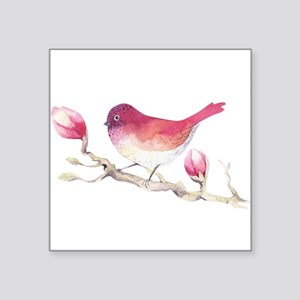 Pink Sparrow Bird on Magnolia Flower Branc Sticker