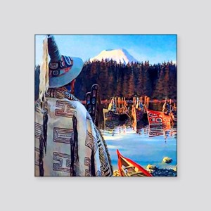 "Tlingit Canoes Square Sticker 3"" x 3"""
