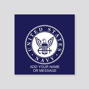 PERSONALIZED US Navy Blue White Sticker