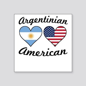 Argentinian American Flag Hearts Sticker