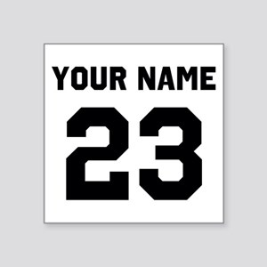 "Customize sports jersey num Square Sticker 3"" x 3"""