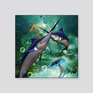 Awesome marlin with jellyfish Sticker