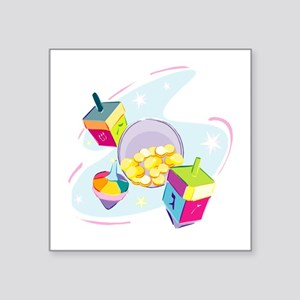 "pastel dreidels Square Sticker 3"" x 3"""