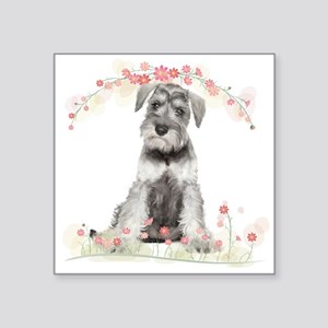 "Schnauzer Flowers Square Sticker 3"" x 3"""