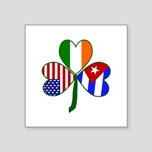 "Shamrock of Cuba Square Sticker 3"" x 3"""