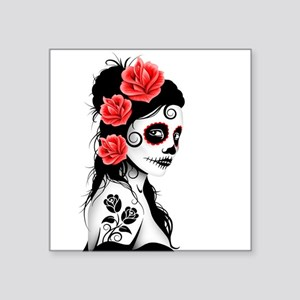 Day of the Dead Girl White Sticker