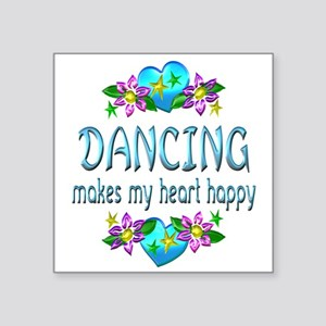 "Dancing Heart Happy Square Sticker 3"" x 3"""