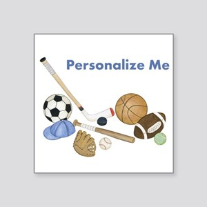 "Personalized Sports Square Sticker 3"" x 3"""