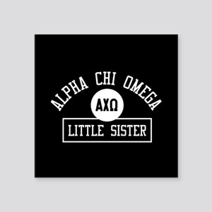 "Alpha Chi Omega Little Sist Square Sticker 3"" x 3"""
