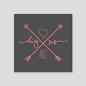 "Alpha Chi Omega Big Arrows Square Sticker 3"" x 3"""