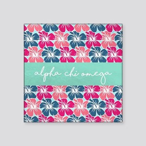 "Alpha Chi Omega Flower Square Sticker 3"" x 3"""