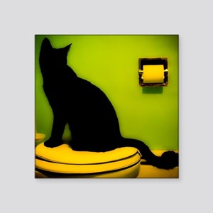 "Toilet Cat Square Sticker 3"" x 3"""