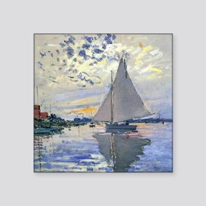 "Claude Monet Sailboat Square Sticker 3"" x 3"""