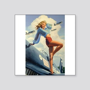 "The Pin Up Girl. Square Sticker 3"" x 3"""