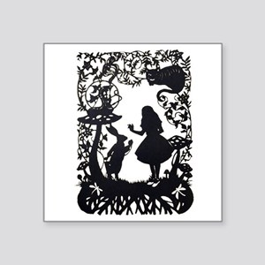 "Alice in Wonderland Silhoue Square Sticker 3"" x 3"""