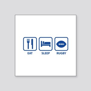 """Eat Sleep Rugby Square Sticker 3"""" x 3"""""""