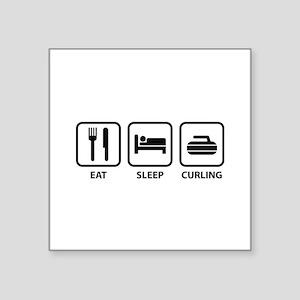 "Eat Sleep Curling Square Sticker 3"" x 3"""