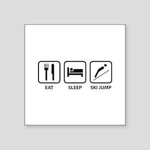 "Eat Sleep Ski Jump Square Sticker 3"" x 3"""