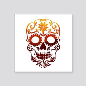 Red and Orange Sugar Skull Sticker