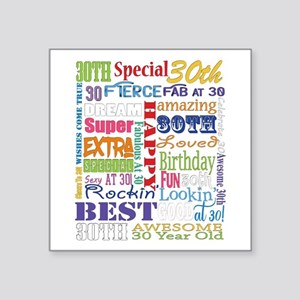 "30th Birthday Typography Square Sticker 3"" x 3"""