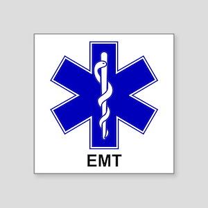 """Blue Star of Life - EMT Square Sticker 3"""" x 3"""""""