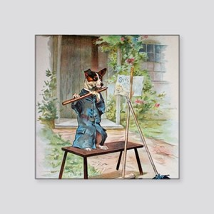"""He Was Playing The Flute Square Sticker 3"""" x 3"""""""