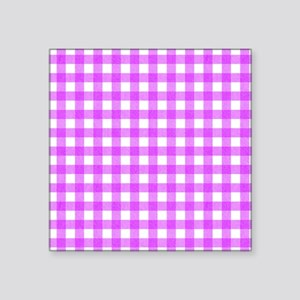 "Pink Gingham Pattern Square Sticker 3"" x 3"""