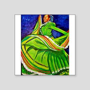 "Woman in Green Dress Square Sticker 3"" x 3"""