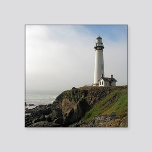 "Lighthouse on Cliff Square Sticker 3"" x 3"""