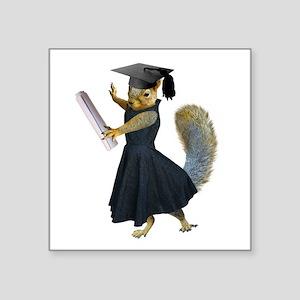 """Girl Squirrel Grad Square Sticker 3"""" x 3"""""""