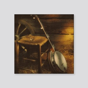 """Banjo Picture Larger Square Sticker 3"""" x 3"""""""