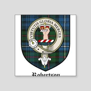 """Robertson Clan Crest Tartan Square Sticker 3"""" x 3"""""""