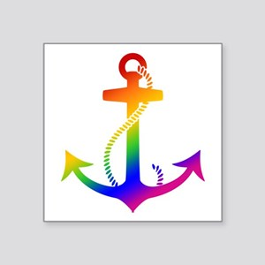 "Rainbow Anchor Square Sticker 3"" x 3"""