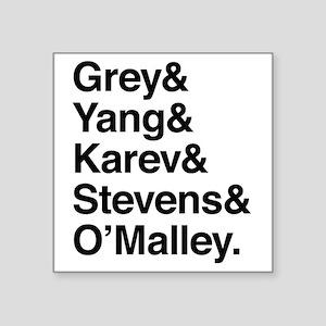 """Grey, Yang, Karev, Stevens, Square Sticker 3"""" x 3"""""""