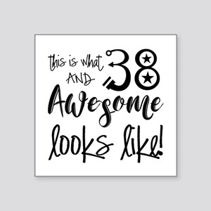 """Awesome 38 Years Old Square Sticker 3"""" x 3"""""""