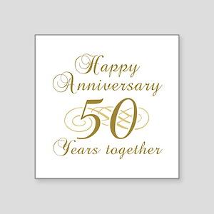 """50th Anniversary (Gold Script) Square Sticker 3"""" x"""