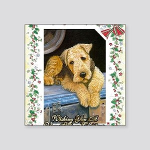"Airedale Terrier Dog Christ Square Sticker 3"" x 3"""