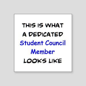 "dedicated student council m Square Sticker 3"" x 3"""
