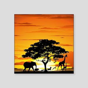 "Wild Animals on African Sav Square Sticker 3"" x 3"""