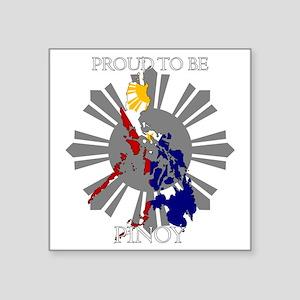 "proud-pinoy-dark-sun Square Sticker 3"" x 3"""