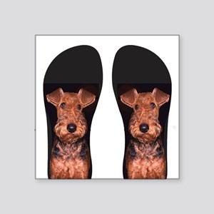 "airedale flip flops Square Sticker 3"" x 3"""