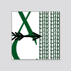 "XC Run Green Black Square Sticker 3"" x 3"""