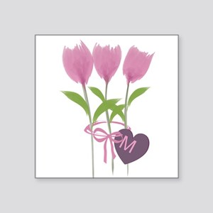 """Pink Tulip Monogram Square Sticker 3"""" x 3"""""""