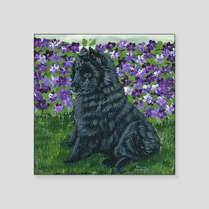 "bel shep purple flower baby Square Sticker 3"" x 3"""