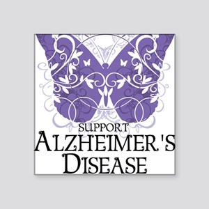 """Alzheimers-Butterfly Square Sticker 3"""" x 3"""""""