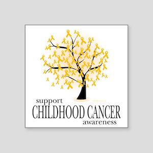 "Childhood-Cancer-Tree Square Sticker 3"" x 3"""