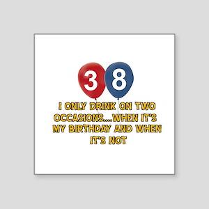"38 year old birthday designs Square Sticker 3"" x 3"