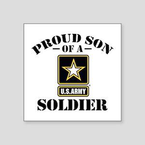 "Proud Son U.S. Army Square Sticker 3"" x 3"""
